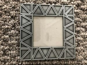 """Silver Pewter Metal Picture Photo Frame Geometric Design  3 x 3"""" Center"""
