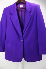Koret 100% Wool Purple 1 Button Lined Long Blazer Size - 18