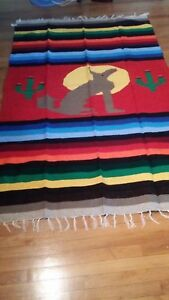 Mexican Coyote Blanket 79x54 6.5x4.5 Full Thick Blanket Rainbow