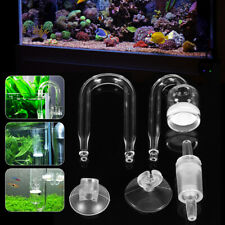 Fish Tank Aquarium CO2 Diffuser Check Valve U Shape Glass Tube Suction Cup USA