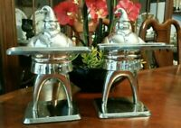 LARGE Pottery Barn Santa Baby Statues Silver Plate Art Deco Style (Lot of 2)