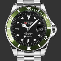Military Mens Watch Mechanical Black Dial Green Analog Stainless Steel Strap