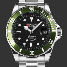 Military Royale Mens Watch Mechanical Black Dial Analog Stainless Steel Strap