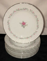 "8 Japan Fine China ROYAL SWIRL PINK ROSE *7 1/2"" SALAD PLATES *"