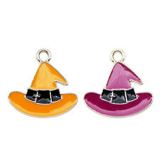 12pcs Enamel Plated Halloween Witch Hat Pendant Charms Jewelry DIY Findings