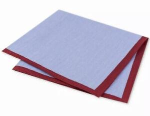 Tommy Hilfiger Men's Pocket Square Red Blue Striped Border Plain $39 #529