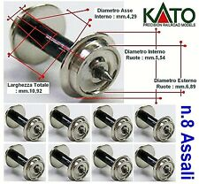 KATO SET N.8 ASSI-ASSALI-AXLES-ESSIEUX-EJES LARGHEZZA mm.10,92 SILVER in SCALA-N