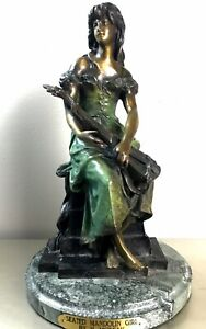 Seated Mandolin Girl By Hippolyte Moreau Bronze On Marble Base Statue Figurine