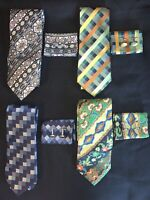 4-Men's Necktie, Pocket Square, and Cuff link Sets NEW WITH TAGS