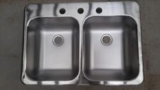 Sink -  Double Bowl - 3 hole Stainless Steel 635mm x 445m