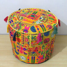 """18"""" Indian Handmade Vintage Ottoman Pouf Cover Patchwork Round Footstool Decor"""