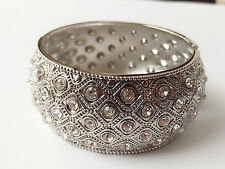 Stunning Wide Retro Silver Metal  Diamante Crystal Hinged Bangle Bracelet