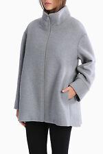 Piper Womens Wool Blend Winter Swing Coat Light Grey Zip Front Size L