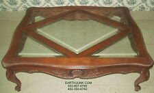 Ethan Allen Coffee Table Carved French Legacy Collection Glass Insets 13 8620