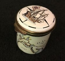 ALASTOR ENAMELS OLDE WORLDE MAP ATLAS SAILING SHIP COMPASS PILL TRINKET BOX