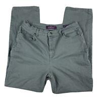 GLORIA VANDERBILT Women 14 Pants Slacks Jeans Amanda Straight Leg Pockets Green