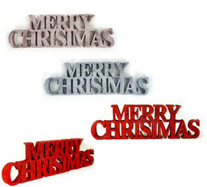 GLITTER MERRY CHRISTMAS SIGN Decoration Free Standing Xmas Home Decor Bunting UK