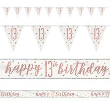 Rose Gold Glitz Age 13 Birthday Banners, Foil Banner, Flag Banner, Party, Pink