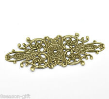 30 Bronze Tone Filigree Flower Wraps Connector Embellishments Finding 8.5x3.4cm