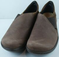 NAOT Women's Brown Leather Elastic Wedge Clog Comfort Shoes Size EU 39 US 8
