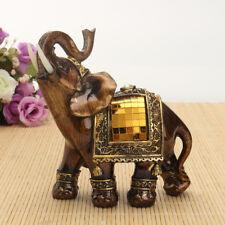 Feng Shui Elegant Elephant Trunk Statue Lucky Wealth Figurine Gift & Home Decor