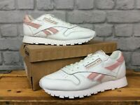 REEBOK LADIES UK 5 EU 38 WHITE LEATHER PINK SNAKE CLASSIC TRAINERS