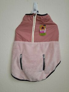 NWT Top Paw Dog Apparel Two Tone Pink Cozy Coat Reflective Zipper Pocket Size XL
