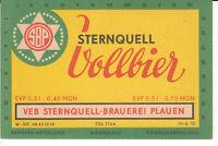 1 Bieretikett Plauen , Vollbier , DDR
