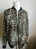 Susan Graver Size L Large Leopard Lined Zip Front Long Sleeve Jacket