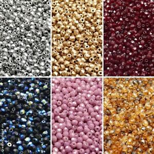 600pcs 3mm 6 colors Set Fire Polished Faceted Round Beads Czech Glass (3SFP612)