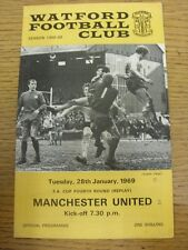 28/01/1969 Watford V Manchester United [FA Cup REPLAY] (léger pli, Score sur FR