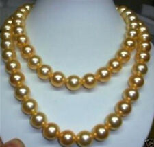 """10mm gold south sea shell pearl necklace 36"""""""