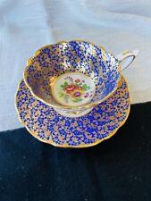 ROYAL STAFFORD TEA CUP & SAUCER COBALT BLUE AND GOLD CHINTZ