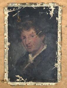 Tableau Ancien Huile Portrait Homme Ecole Anglaise Fin XVIIIe À Restaurer