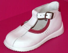 SALOMES CHAUSSURES BEBE FILLE 22 cuir lisse blanc rose boucles ASTER NEUF