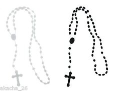 LOT 2 x CHAPELET : 1 BLANC + 1 NOIR FASHION ROSARY NEUF
