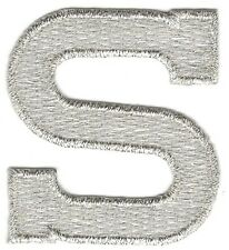 "1 7/8"" Bright Metallic Silver Monogram Block letter S Embroidery Patch"