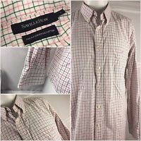 Savile Row Long Sleeve Shirt Large Pink Green Check 100% Cotton EUC YGI 46hh