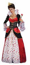 Womens Queen of Hearts Costume Deluxe Wonderland Fancy Dress Costume