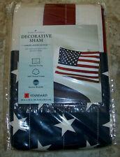 Nwt Home Classics Standard Quilt Pillow Sham Flag Red White Blue American Dream