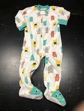 Boys Carters 18 Month Fleece Footed Monster Zip Up Pajamma Pj Multicolored