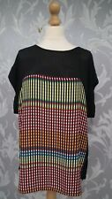 Next Mutli Coloured Stripe and Black Short Sleeved Top Size 18