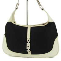 Auth GUCCI Logos Jackie Canvas Leather Chain Hobo Shoulder Bag Italy 12074bkac