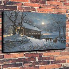 Home Decor Art Quality Canvas Print, Oil Painting Moonlit Passage Deer 12x18