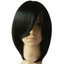 Women Fashion Tilted Frisette Short Black Straight Party Cosplay Hair Wig Worthy
