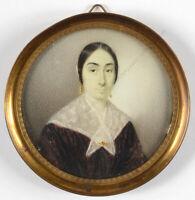 """Female portrait"", French miniature, ca. 1850"