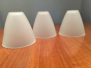 """PRELOVED SET OF 3 OPAQUE MODERN RIBBED CONE GLASS  LIGHT SHADES 4 1/2"""" W X 5"""" T"""