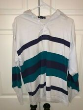 Vintage Gant Rugger Long Sleeve Mens striped made in USA Polo Rugby Size L