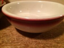 "Vintage Buffalo China Restaurant Ware Small Bowl Made in USA 5"" Maroon Strip Red"