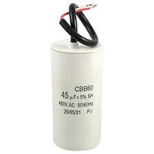 White Plastic Shell 45uF 50/60Hz 450VAC CBB60 Motor Start Run Capacitor SH